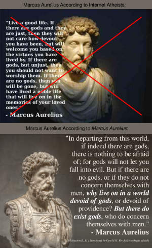 Marcus Aurelius Internet atheist fake quote